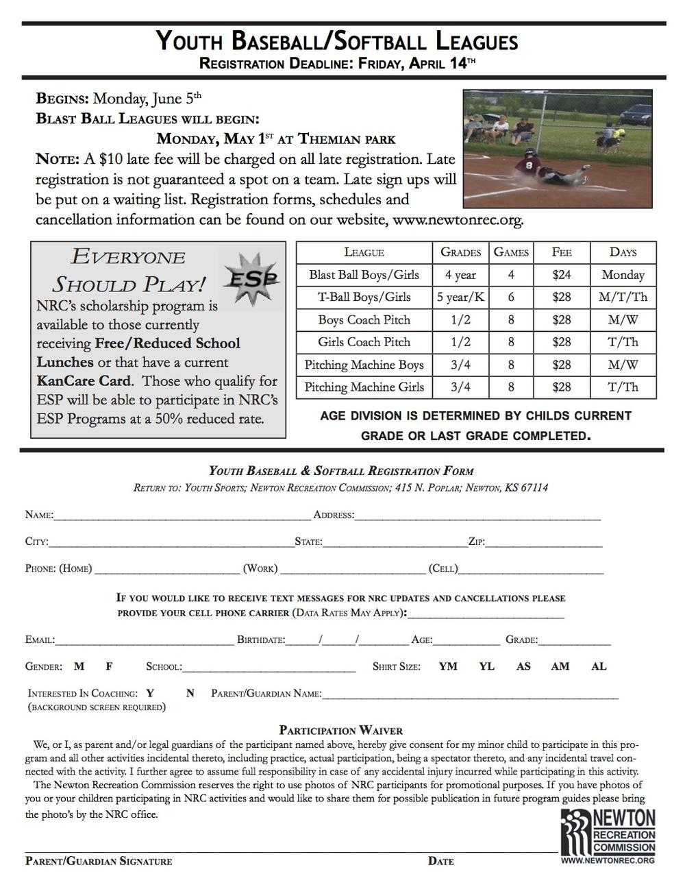 Youth Baseball and Softball Leagues