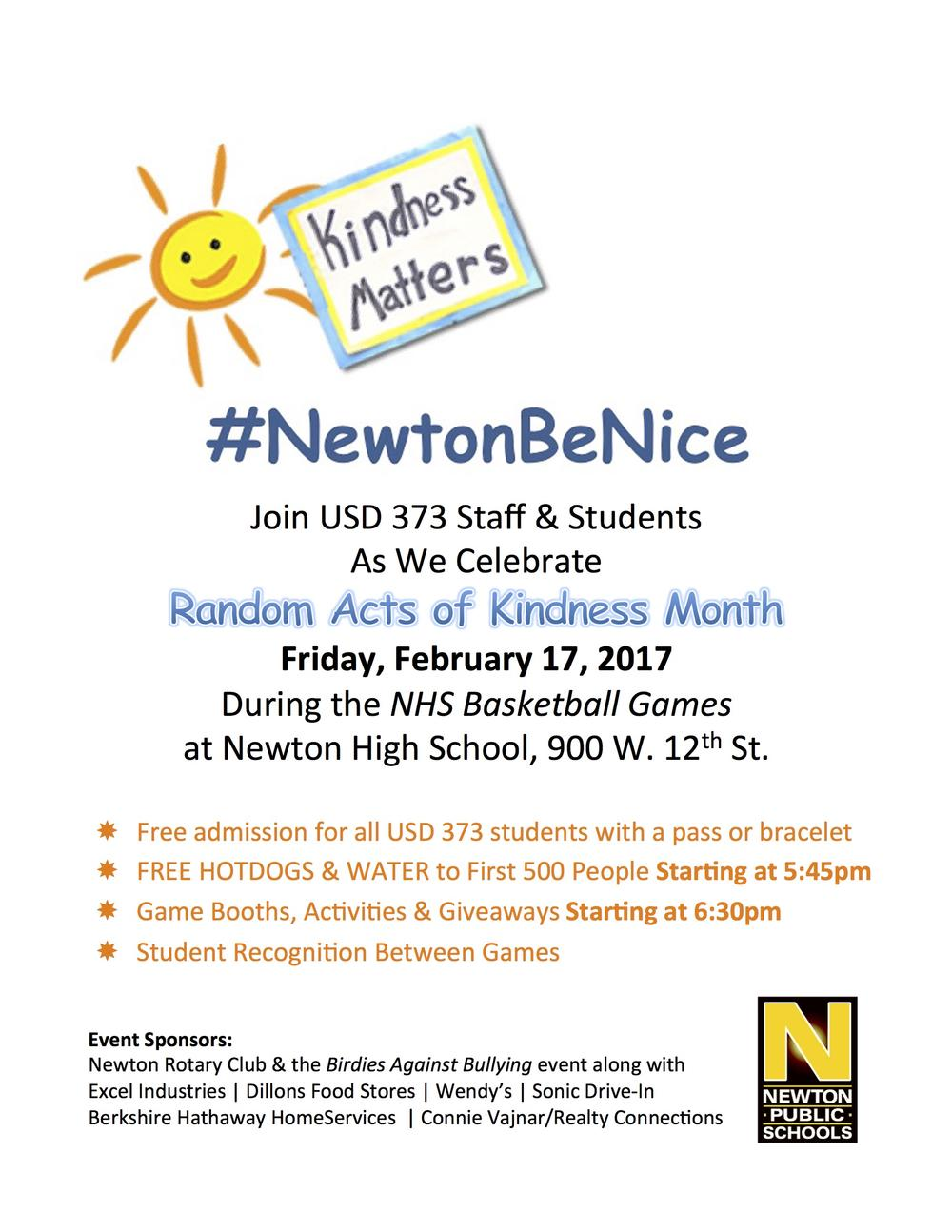 Newton Be Nice Event Flyer