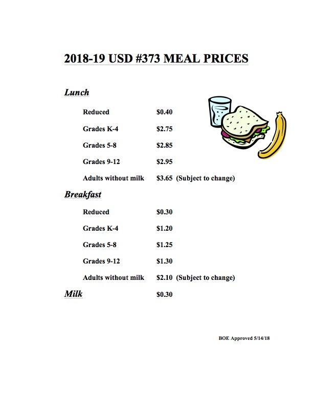 2018-19 Meal Prices