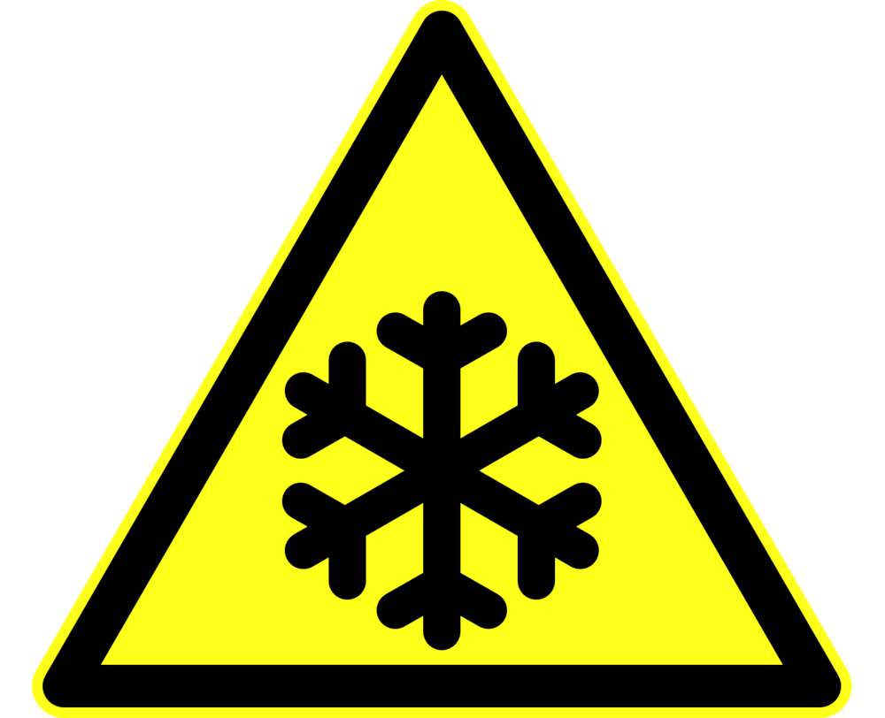 Icy conditions warning sign