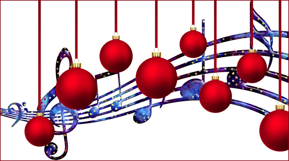 music notes and red ornaments