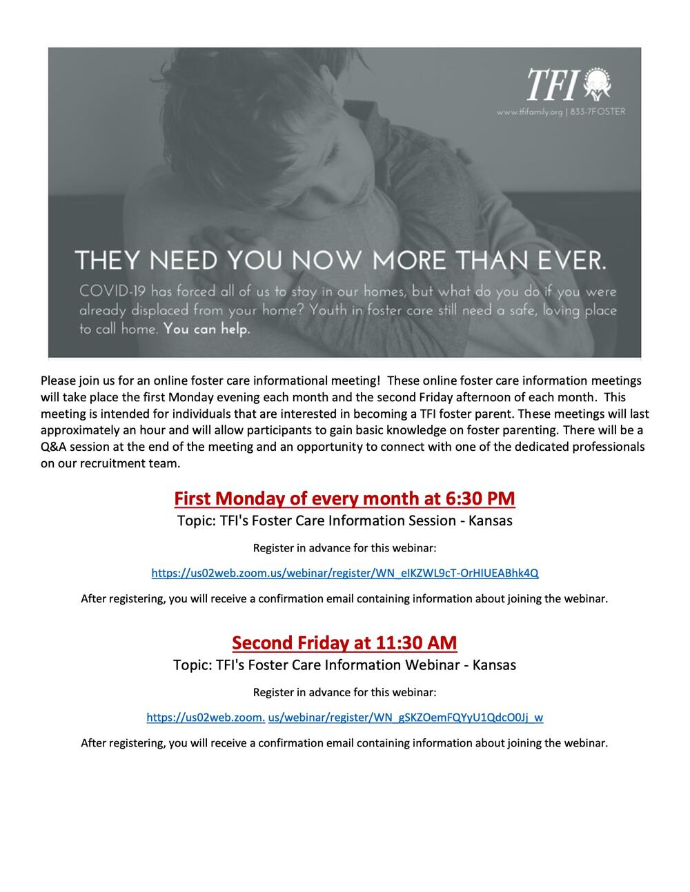 foster care informational meeting flyer