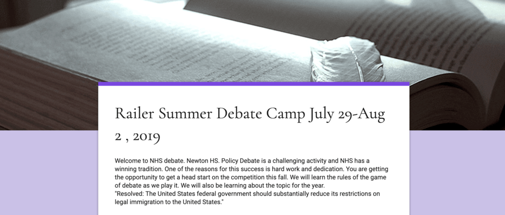 Railer Summer Debate Camp