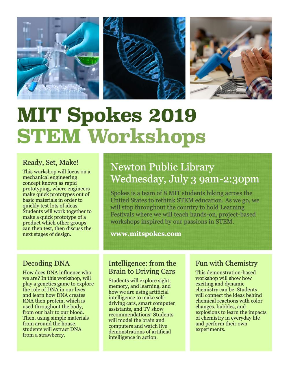 SPOKES MIT STEM Workshops at NPL